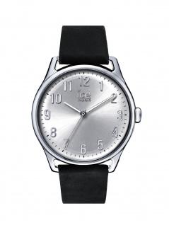 Ice-Watch 013042 Ice time Black Silver Large Uhr Lederarmband Schwarz