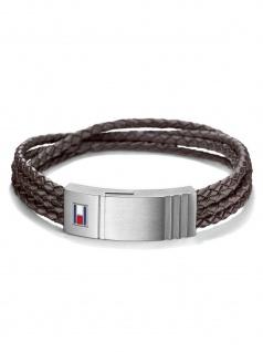 Tommy Hilfiger 2701008 Herren Armband Edelstahl Silber Braun 21 cm