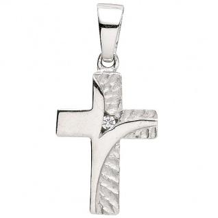 Basic Silber 27.9174S Damen Anhänger Kreuz Silber Zirkonia weiß