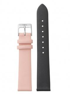 laVIIDA Uhrenarmband LB-SVI2007S Leder 18 mm Dunkelgrau-Rosa-Silber