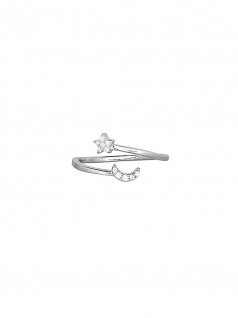 XENOX XS1521 Damen Ring Stern Mond Moonwalk Silber Weiß