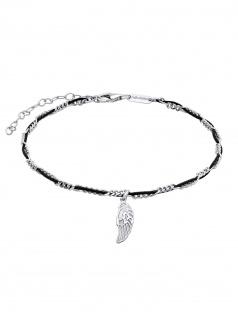 Julie Julsen Fußkettchen Flügel Spirit Silber Schwarz 26, 5 cm