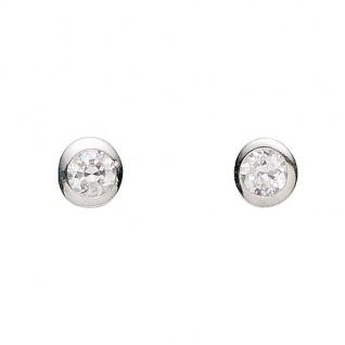 Basic Silber 01.1196W Damen Ohrstecker Silber Zirkonia weiß