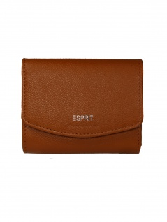 Esprit Damen Geldbörse Portemonnaies Classic City Wallet Leder Braun