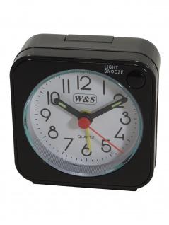 W&S 2016100-schwarz Wecker Uhr Alarm Weiss