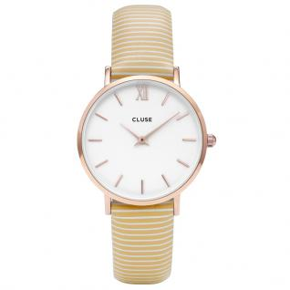 CLUSE CL30032 Minuit Rose Gold White/Sunny Yellow Stripes Uhr gelb