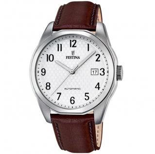FESTINA F16885/1 Automatic Uhr Herrenuhr Lederarmband Datum braun