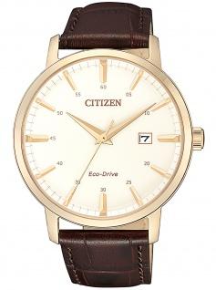 Citizen BM7463-12A Eco Drive Uhr Herrenuhr Lederarmband Datum braun