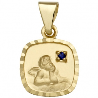 Basic Gold EN09 Kinder Anhänger Schutzengel 14 Karat (585) Gold Blau