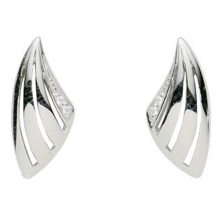 Basic Silber 01.2344 Damen Ohrstecker Silber Zirkonia weiß