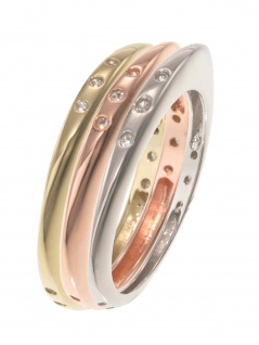 gooix 943-06737-580 Damen Ring Sterling-Silber Tricolor weiß 58 (18.5)