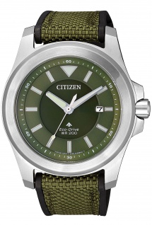 Citizen BN0211-09X Promaster Uhr Herrenuhr Kautschuk Datum grün