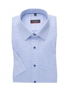 Eterna Herren Hemd Kurzarm Modern Fit Natté strukturiert Blau L/41