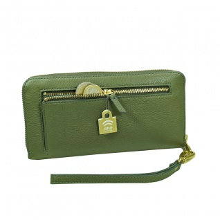 Fossil Geldbörse Emma Large Zip RFID Clutch Grün Damen Leder Börse - Vorschau 4