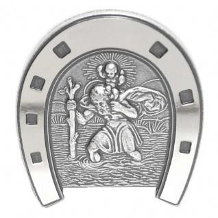 Basic Silber ALP08 Herren Autoplakette Heilger Christopherus Hufeisen