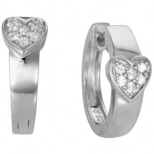 Basic Silber Damen SCR06 Creolen Herz Silber Zirkonia Weiß