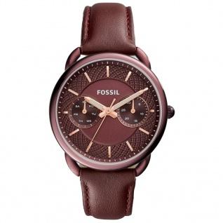 Fossil ES4121 TAILOR Uhr Damenuhr Lederarmband Datum Rot