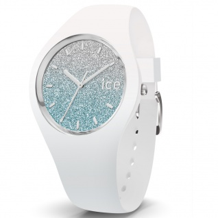 Ice-Watch 013429 Ice-Lo White blue medium Uhr Damenuhr Silikon Weiß