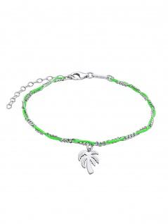 Julie Julsen Fußkettchen Palme Spirit Silber Grün 26, 5 cm
