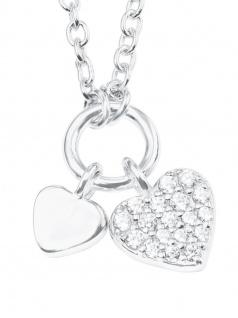 s.Oliver 2022700 Damen Collier Herz Sterling-Silber 925 Weiß 40 cm