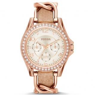 Fossil ES3466 RILEY Uhr Damenuhr Lederarmband Datum beige rosé