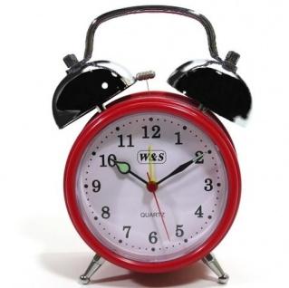 W&S 200200 Wecker Glockenwecker Uhr rot-weiß Analog Alarm