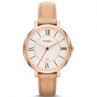 Fossil ES3487 JACQUELINE Uhr Damenuhr Lederarmband Datum beige rosé