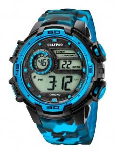 Calypso K5723/4 Chrono Uhr Herrenuhr Kunststoff Datum Alarm blau