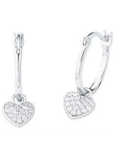 s.Oliver 2027840 Damen Creolen Herz Sterling-Silber 925 Silber weiß