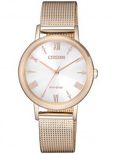 Citizen EM0576-80A Eco Drive Uhr Damenuhr Edelstahl rose