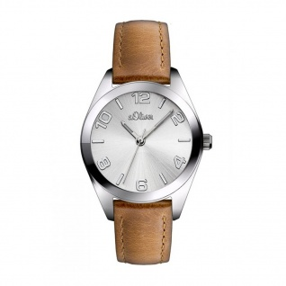 s.Oliver SO-2771-LQ Uhr Damenuhr Lederarmband Braun