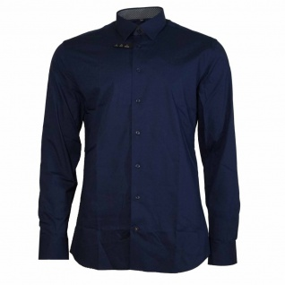 Eterna Herrenhemd Hemd Langarm Slim Fit Blau Gr. XL/43 4677/19/F14B
