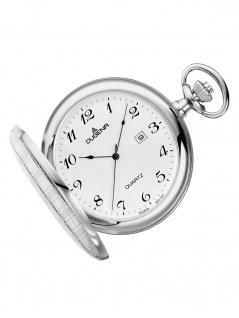 Dugena 4460636-1 Taschenuhr Savonette mit Kette Uhr Datum weiss