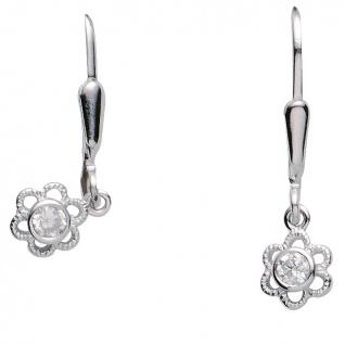 Basic Silber 02.KS135 Mädchen Ohrringe Blume Silber Zirkonia weiß