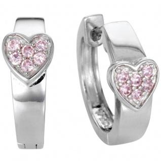 Basic Silber Damen SCR05 Creolen Herz Silber Zirkonia Rosa