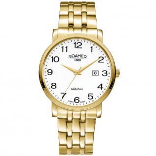 ROAMER 709856 GM1 Classic Line Uhr Herrenuhr vergoldet Datum gold