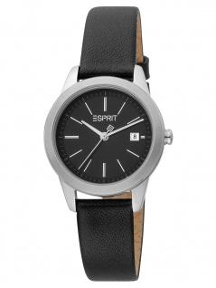 Esprit ES1L239L0025 Wind Black Silver Uhr Damenuhr Leder Datum schwarz