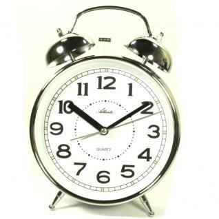 Atlanta 1647-19 Glocken Wecker Analog Licht Alarm weiss silber