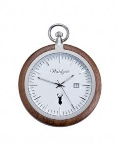 Waidzeit TW01 Alpin Walnuss Taschenuhr Uhr Herrenuhr Datum Weiss