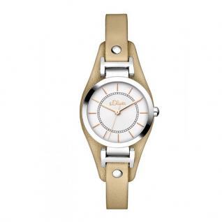 s.Oliver SO-3277-LQ Uhr Damenuhr Lederarmband Beige