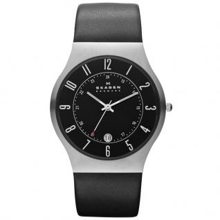 Skagen GRENEN Uhr Herrenuhr Lederarmband Datum schwarz