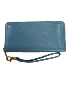 574db5fffcd7fe Fossil Damen Geldbörse Portemonnaies RFID Logan Zip Leder Blau