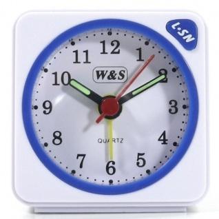 W&S 600104 Wecker Uhr weiß-blau Analog Licht Alarm - Vorschau 1