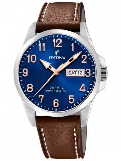 Festina F20358/B Uhr Herrenuhr Lederarmband Datum braun