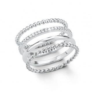 s.Oliver 2015041 Damen Ring Sterling-Silber 925 Silber Weiß 56 (17.8) - Vorschau 1