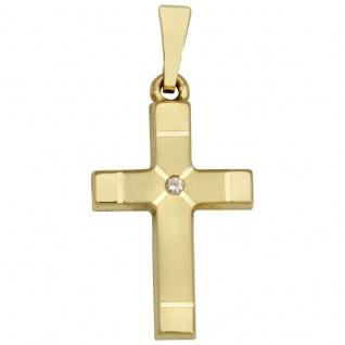 Basic Gold K16 Damen Anhänger Kreuz 14 Karat (585) Gelbgold
