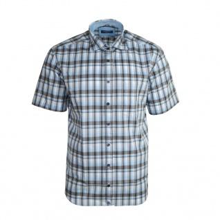 Eterna Herrenhemd Kurzarm Modern Fit Blau Grau Gr. XL/44 2084/60/C247