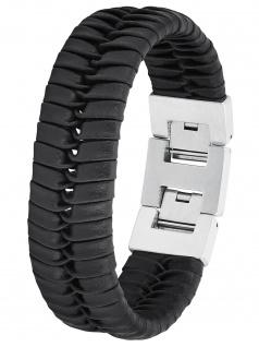s.Oliver 2027439 Herren Armband Edelstahl Silber schwarz 22 cm
