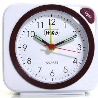 W&S 030409 Wecker Uhr weiß-rot Analog Licht Alarm