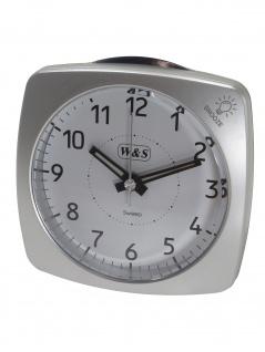 W&S 201813-silber Wecker leise Sekunde Uhr Alarm Weiss